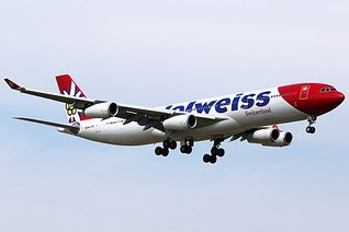 Edelweiss Air Airbus A340-300 on finals at Zurich