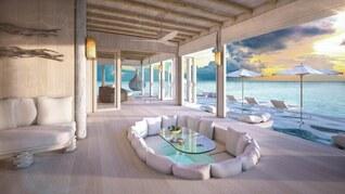 Soneva Jani Wasser Villas Wohnbeispiel Wohnzimmer mit Pool