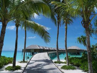 Vakkaru Maldives Wasser Bungalows von Insel gesehen